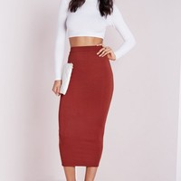 Missguided - Longline Jersey Midi Skirt Rust
