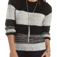 Fuzzy Glitter-Striped Sweater by Charlotte Russe - Black Combo