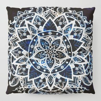 Radiant Zen Glowing Mandala Floor Pillow by inspiredimages