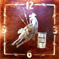 Rustic Laser Cut Barrel Racer Horse wall clock #DS5450B
