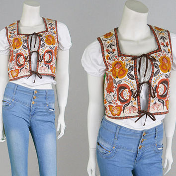 Vintage 70s Waistcoat Boho Vest Indian Cotton Gypsy Top Hippy Jacket Sleeveless Top Ethnic Print Paisley Pattern Quilted Jacket 1970s Top