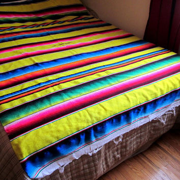 Mexican Rainbow Throw Blanket, Sarape / Saltillo