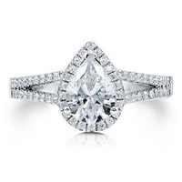 BERRICLE Sterling Silver Pear Cubic Zirconia CZ Halo Promise Engagement Wedding Split Shank Ring