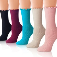 FASHION COLORS Women's Colorful Casual Cotton Crew Socks (5 Pairs)