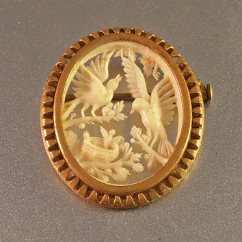 Victorian Carved Bird Brooch, Tiny Babies in Nest, Gilt Brass, Detailed Intricate