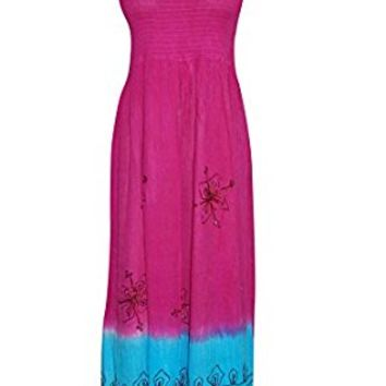 Mogul Womens Dress Pink Smocked Strapless Embroidered Flared Party Fashion L