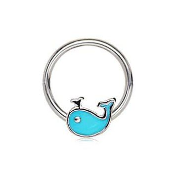 316L Stainless Blue Whale Snap-in Captive Bead Ring / Septum Ring