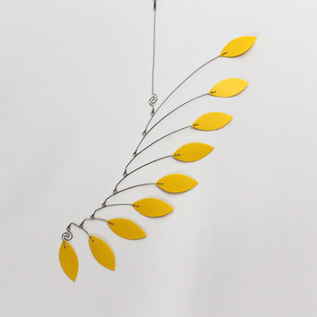 Kinetic Mobile Sculpture  Wave Style in Lemon Yellow  by skysetter