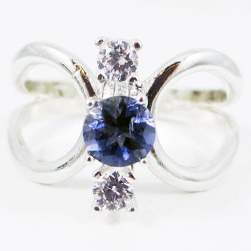 Iolite and CZ Loop Ring Sterling Silver, Three Stone Ring, Water Sapphire Ring, Sterling Iolite Ring, Sterling Loop Ring