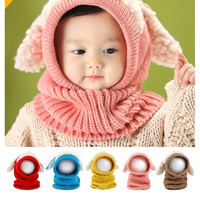 2016 New Winter Baby Toddler Girl Boy Warm Cute Dog Knitted Crochet Cloak hooded Hat Cap Beanie Scarf Set [7942825799]