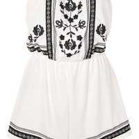 PETITE Embroidered Bandeau Playsuit