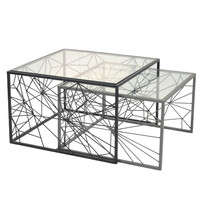 Adrin Coffee Table Glass Top Set of 2, Black/Dark Gray