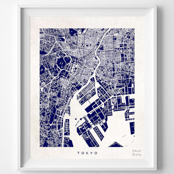 Tokyo, Map, Japan, Poster, Print, Beautiful, Japanese, Dorm Room, Bed, World, House, Street, Nursery, Decor, Town, Illustration [NO 615]