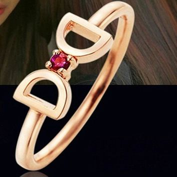 R243 Bow Finger Rings Imitation Butterfly Knot The Double-D Shape Ring Fashion Jewelry