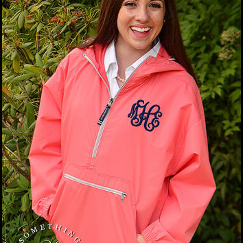 Monogram Windbreaker Jacket - Personalized Waterproof Rain Jacket, Monogrammed Windbreaker, Womens Spring Jacket, Coral Mint Carolina Blue