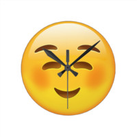 White Smiling Face Emoji Round Wall Clocks