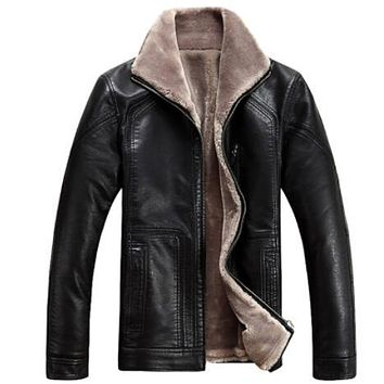 M-4XL ! Winter Men's fur one piece water wash leather jacket outerwear men's warm thicken leather coat ! M-6XL free shipping