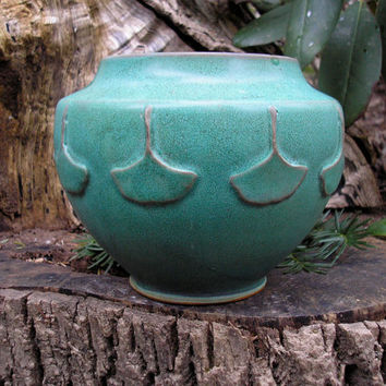 Ginkgo Leaf Arts and Crafts vase in verdigris green by meadowpoint