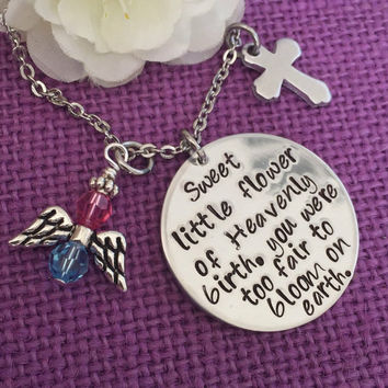 Miscarriage Necklace - Miscarriage Jewelry - Infant Loss - Miscarriage Memorial - Heavenly Flower - Sympathy Gift - Baby Born Sleepi