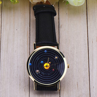 Solar System Watch Women Leather Quartz Watches + Gift Box