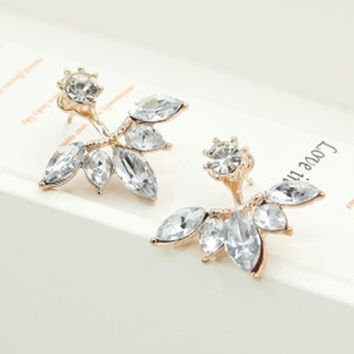 Gold and Silver Crystal Stud Earrings