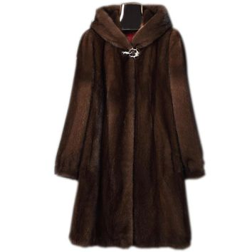 S-6XL New Fashion Women Clothing High Imitation Mink Fur Overcoat Female Long Hooded Coat Faux Fur Coat
