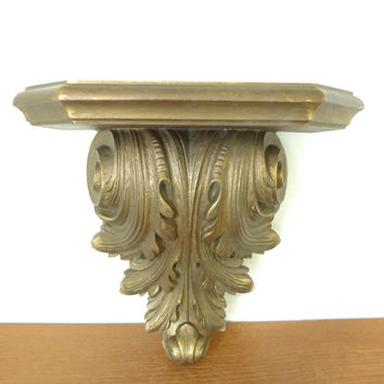 Large ornate acanthus leaf wall shelf or wall sconce