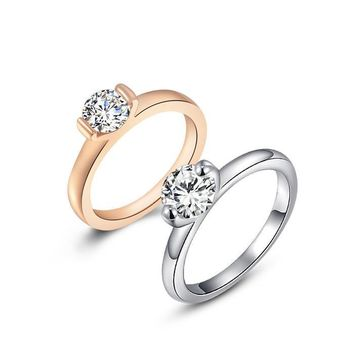 "ON SALE - Two Prong ""V"" Set Solitaire Ring - Choose Your Color Ring"