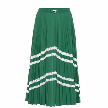 Lace-trimmed midi skirt