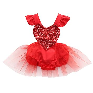 Cute Sequined Heart Shape Baby Girl Dresse Princess Party Ruffle Dresse Bodysuit Tulie Tutu Dresses Vestidos Infantil 2018