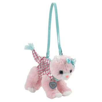 Poochie Co. Plush Cat Purse - Pink Cat with Mermaid Clothes