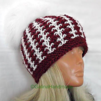 Christmas Santa Hand Knit Slouchy Hat Beanie Slouch Cabled Hat With Fur Pom Pom Red White