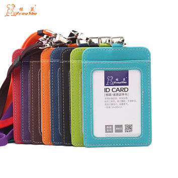 New Name Credit Card Holders Women Men PU Bank Card Neck Strap Card Bus ID holders candy colors Identity badge with lanyard