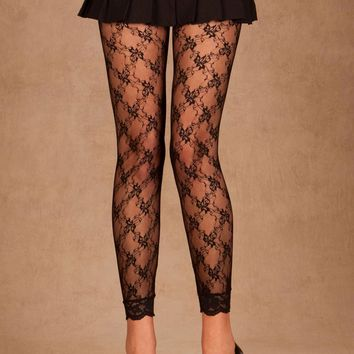 Lace Leggings (One Size,Black)