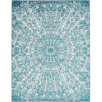 2050 Turquoise Abstract Contemporary Area Rugs