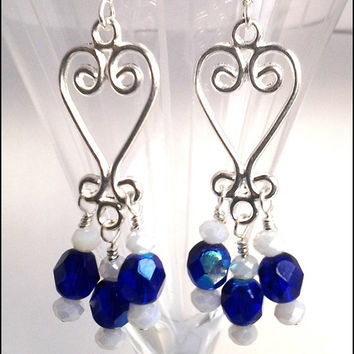 Silver Plated Heart Chandelier Blue Crystal Women's Earrings | Blue and Silver Crystal Chandelier Earrings | Lady Green Eyes Jewelry