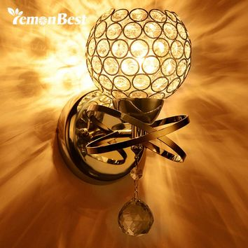 Lemonbest Modern Wall Lamp Crystal outdoor Wall Light home lighting Holder E14 Socket (No Bulb Included) Silver/Gold/Colored