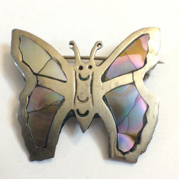Vintage Sterling Silver Butterfly Pin Brooch, Mexican, Abalone, Hallmarked, Small