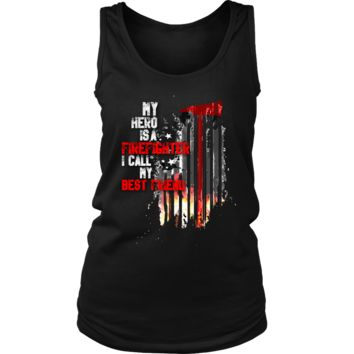 Women's Thin Red Line American Flag Firefighter Best Friend Tank Top