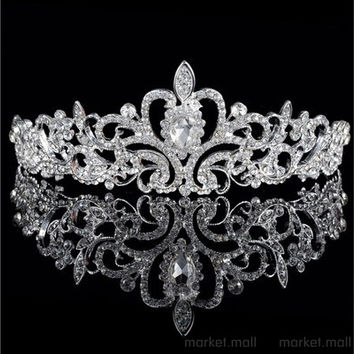 Hot Sale Wedding Crown Transport of the drop Rhinestone Crystal Tiara Crown Korean fashion [7981079559]