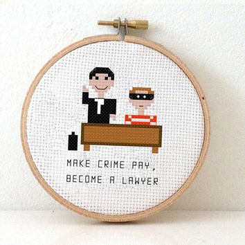 Cross stitch pattern of a lawyer and criminal. DIY Funny quote gift of a pixel people work for him.  Pattern in English, Spanish and Dutch.