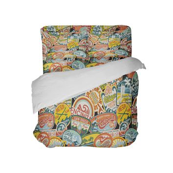 California Vintage Surf Stickers Surfer Bedding Comforter