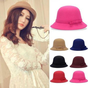 PEAP78W Fashion Solid Women Fedora Hat Vintage Wool Bow Knot Winter Warm Caps Casual Elegant Ladies Party Beach Sun Hat Chapeau Femme F2