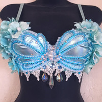 LED Aqua Siren Seashell Bra (LED lights): rave wear, festival, edm, rave bra, edc, electric mermaid, plur, coachella, mermaid