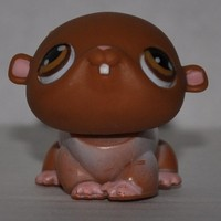 Hamster #35 (Brown, brown eyes) - Littlest Pet Shop (Retired) Collector Toy - LPS Collectible Replacement Figure - Loose (OOP Out of Package & Print