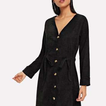 Solid Drawstring Single Breasted Corduroy Dress