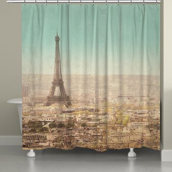 Eiffel Tower Landscape Shower Curtain
