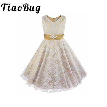 TiaoBug Elegant Bridesmaid Dresses First Communion Dresses for Girls Pyrotechnics Party Evening Long Gowns Christening Dress