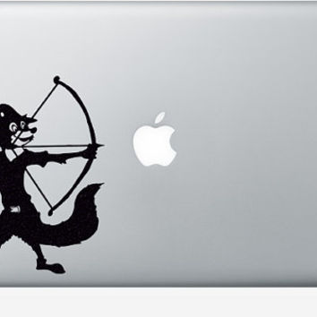 Robin Hood Velvet Mac Sticker - Disney Laptop Decal  - Nursery Wall Decor - Bow And Arrow Decal - Archery Arrows Art - Light Switch Decor