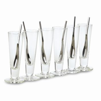 Glass 12 Piece Tall Cups & Spoons Set